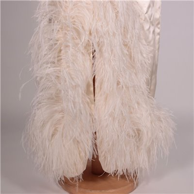 Vintage Silk Dress With Feathers Italy 1970s
