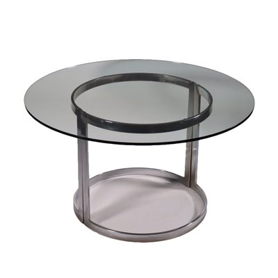 Table Chromed Metal Glass Italy 1960s 1970s