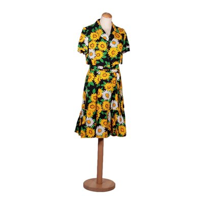 Vintage Dress With Sunflowers Cotton Italy 1970s