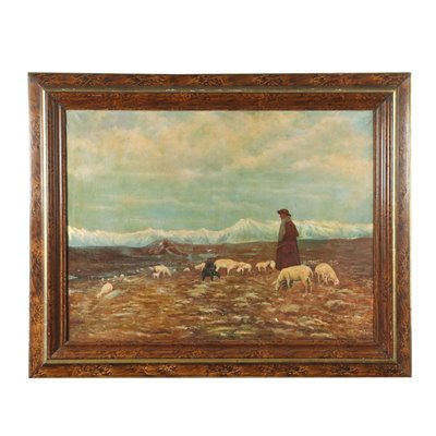 Landscape with Shephers and Herd Oil on Canvas 1919
