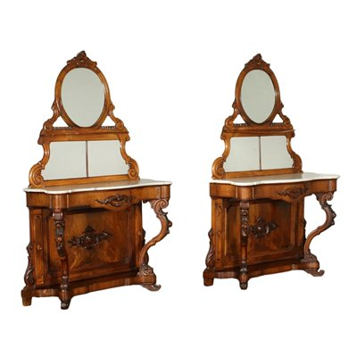 Pair of Umbertine Consoles With Mirros Italy 19th Century