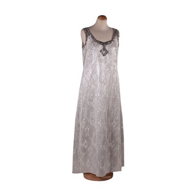 Vintage White Dress With Sequins and Beads Silk