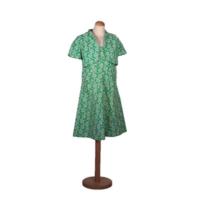 Vintage Green Dress With Wrap Cotton 1960s-1970s