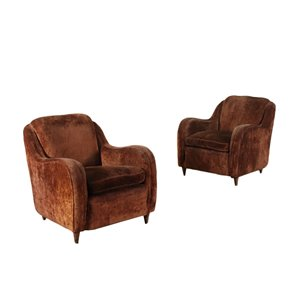 Pair Of Armchairs Spring Velvet Feather Italy 1950s