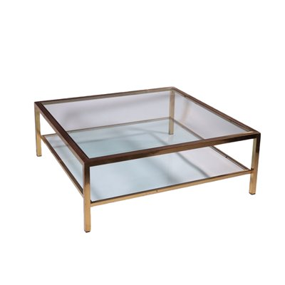 Coffee Table Brass Glass Italy 1970s 1980s