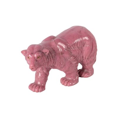 Pink Marble Bear Sculpture Italy 20th Century