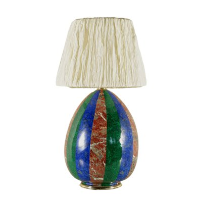 Table Lamp Gilded Metal Porcelain Italy 1960s-1970s