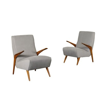 Pair Of Armchairs Foam Fabric Stained Beech Italy 1950s