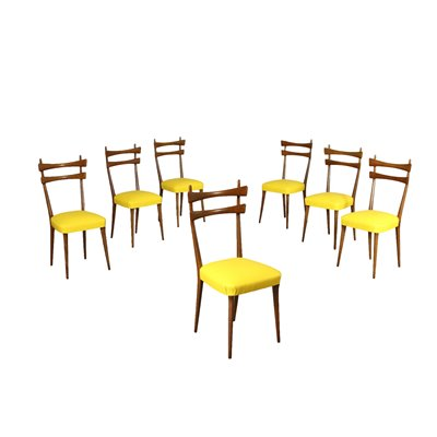 Group Of Seven Chairs Beech Foam Leatherette Italy 1950s