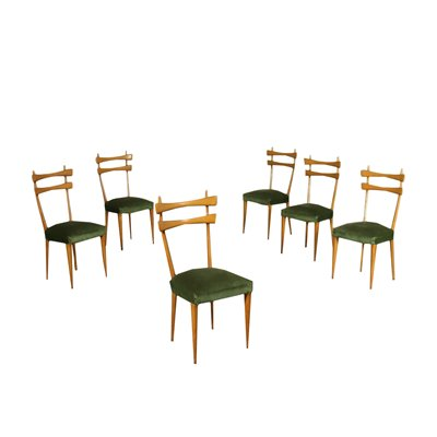 Group Of Six Chairs Beech Spring Italy 1950s