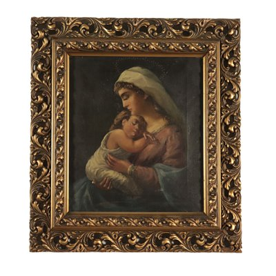 Madonna with Child Painting 19th Century