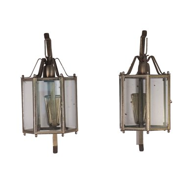 Pair of Wall Lights Metal Glass Italy 20th Century