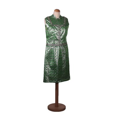 Vintage Geen And Silver Dress With Waistcoat Silk Italy 1960s-1970s