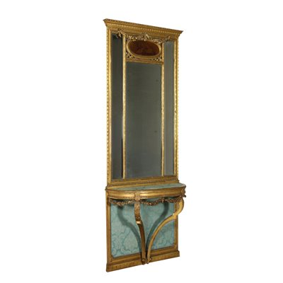 Drop-Shaped Console With Mirror Italy 19th-20th Century