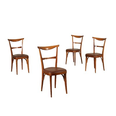 Group Of Four Chairs Stained Beech Foam Leatherette Italy 1950s 1960s