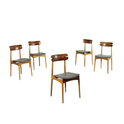 Group Of Five Chairs Beech Mahogany Foam Leatherette Italy 1960s