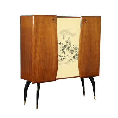 Cabinet Veneered Lacquered Stained Wood Brass Glass Italy 1950s 1960s