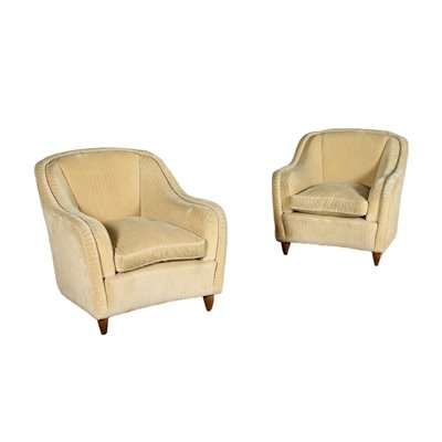 Pair Of Armchairs Spring Feathers Velvet Italy 1950s