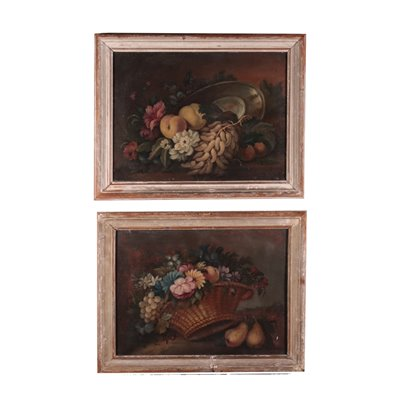Pair of Still Lives With Flowers and Fruit Italian School 19th Century