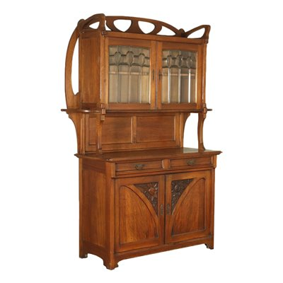 Liberty Cupboard With Extension Walnut Cherry Glass Italy 20th Century