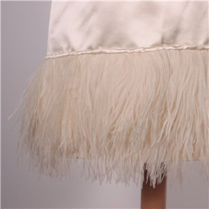 Vintage Ivory Silk Dress With Feathers Italy 1970s