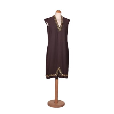 Vintage Brown Silk Dress With Sequins Italy 1960s-1970s