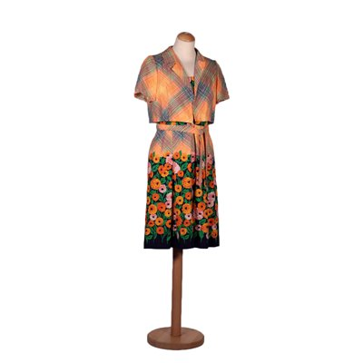 Vintage Dress WIth Stripes and Flowers Cotton Italy 1970s