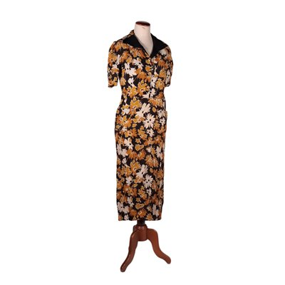Vintage Dress Flower Print Woven Fabric Italy Milano 1950s 1960s