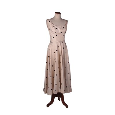 Vintage Cocktail Dress with Polka Dots, Silk, Italy 1950s-1960s