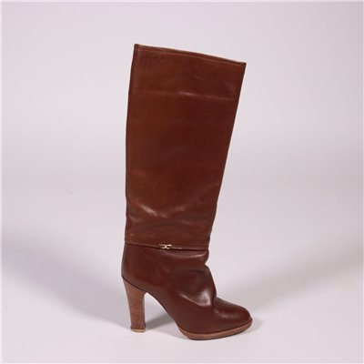 Vintage Boots In Brown Leather Italy 1980s