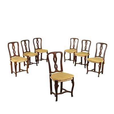 Group of 7 Modenese Chairs Walnut Italy 18th Century