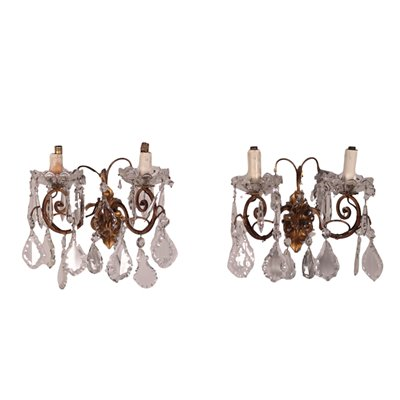 Pair of Wall Lights Bronze Glass Italy 20th Century