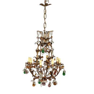 Chandelier Bronze Shear Plate Glass Italy 20th Century