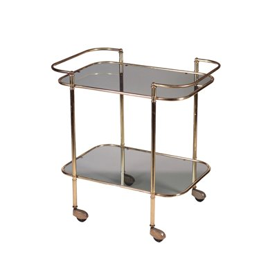 Service Trolley Smoked Glass Brass Italy 1960s