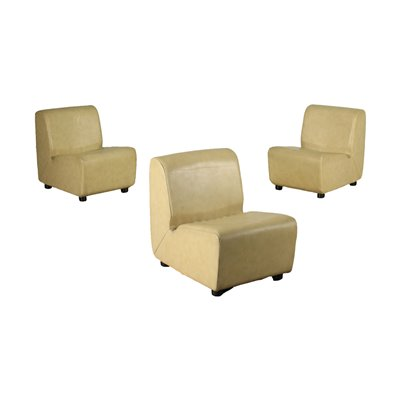 Group Of Three Armchairs Foam Leatherette Italy 1960s 1970s