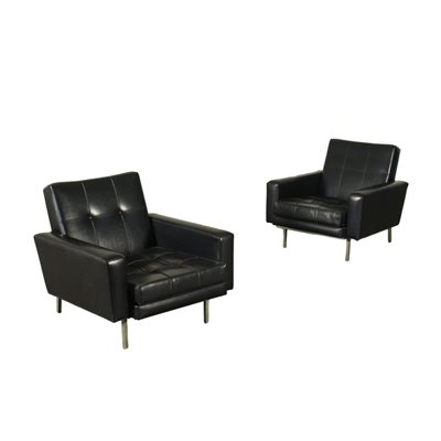 Pair Of Armchairs Foam Leatherette Italy 1960s