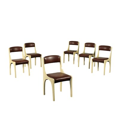 Group Of Six Chairs Aldo Tura Foam Wood Parchment Polyester Italy 1960