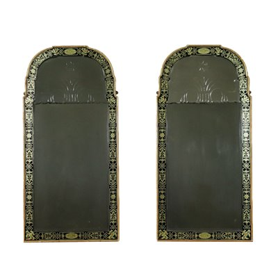 Pair Of Mirrors Queen Anne Mirror Wood England 19th Century