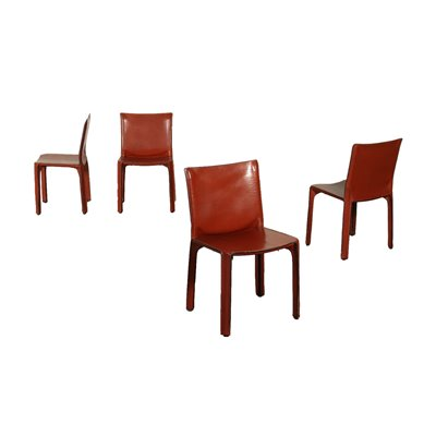 Group Of Four Chairs Mario Bellini Metal Leather 1980s