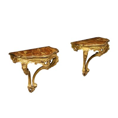 Pair Of Small Barocchetto Revival Consoles Italy 19th Century