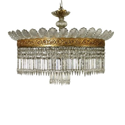 Baccarat Chandelier Empire Brass Glass Italy Early 20th Century