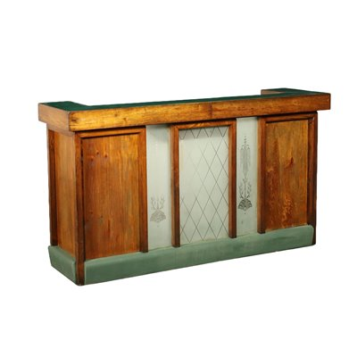 Reception Desk Larch Glass Vinyl Italy Early '900