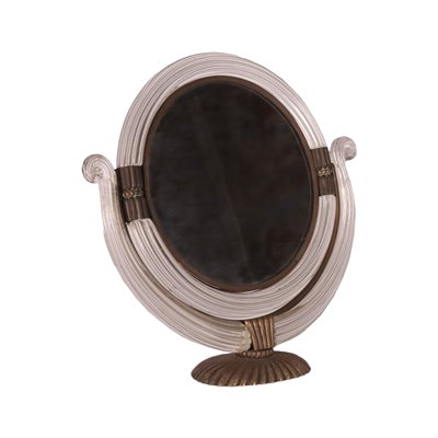 Glass Mirror Made in Boravier's Way Bronze Italy 1930s