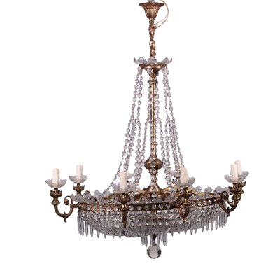Revival Chandelier Gilded Bronze Glass Italy 20th Century