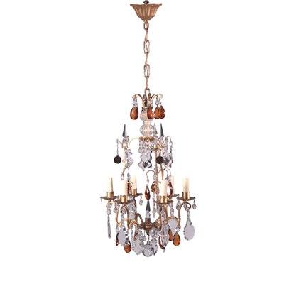 6 Lights Chandelier Glass Gilded Bronze Italy 20th Century