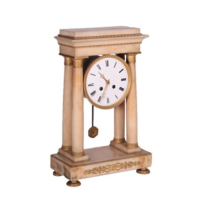 Temple Shaped Clock Marble Gilded Bronze France 19th Century