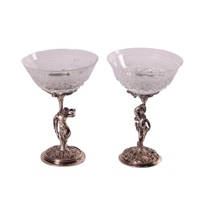 Pair of Silver and Crystal Glasses Milan 20th Century
