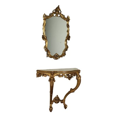 Revival Console with Mirror Marble Italy 20th Century