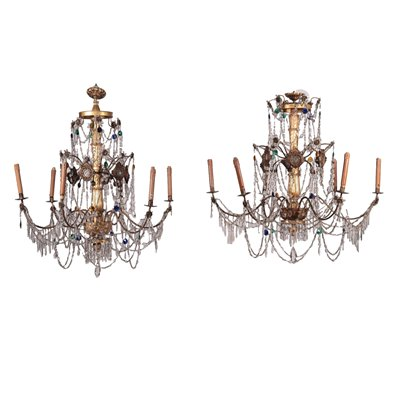 Pair of Neo-Classical Chandeliers Mirror Glass Shear Plate Geona 1700