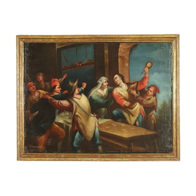 Fight In The Tavern Central European School Oil On Canvas 18th Century